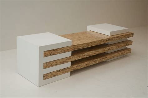 contemporary bench in concrete and wood combination - Design Bench