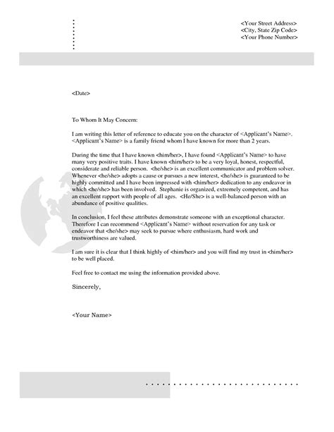 Reference Letter For Friend Sle Personal Reference Letter For A Friend Best Business Template
