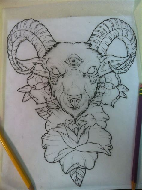 new school goat tattoo black goat head aries tattoo design