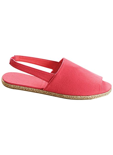 open toe canvas sling back shoe drleonards