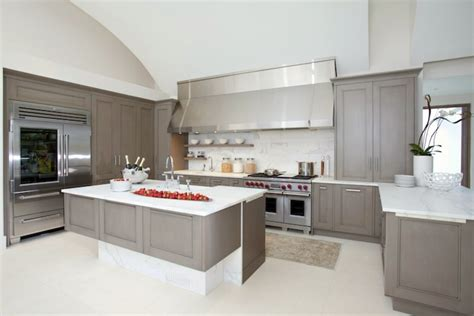 Grey Kitchen Cabinets With White Countertops by Minimalist Gray Kitchen Cabinets With White Countertop