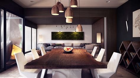Living Room With Dining Table Modern Open Living Space Glass Door Dining Table Chandelier Olpos Design