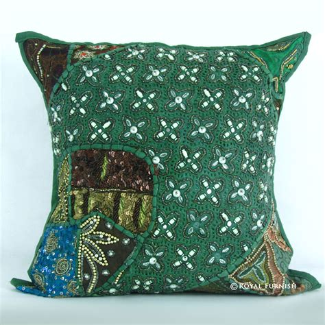 beaded throw pillows antique unique green beaded embroidered cotton throw