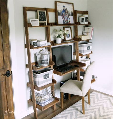 Bookcase Desk Diy White Leaning Wall Ladder Desk Diy Projects