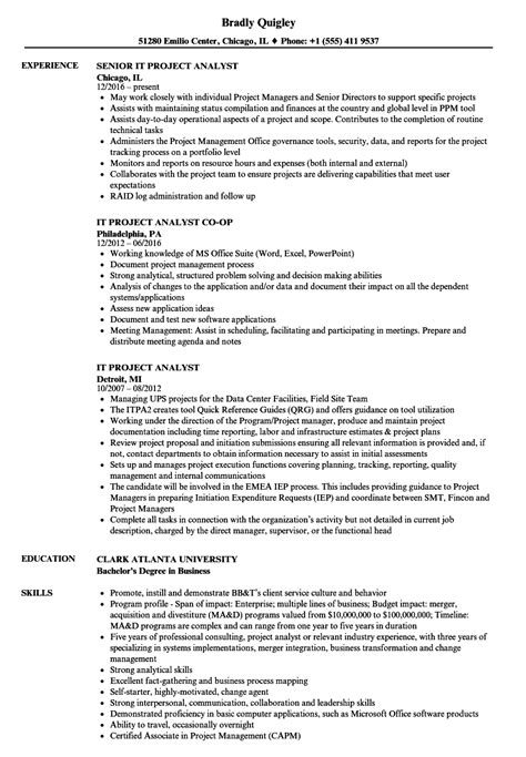 project analyst resume sle it project analyst resume sles velvet