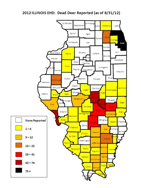 illinois population density map preliminary il county ehd blue tongue map bowhunting