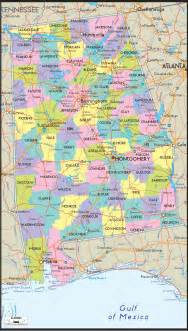 detailed political map of alabama ezilon maps