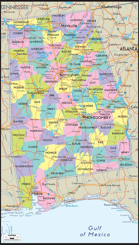 map of alabama counties alabama map free large images