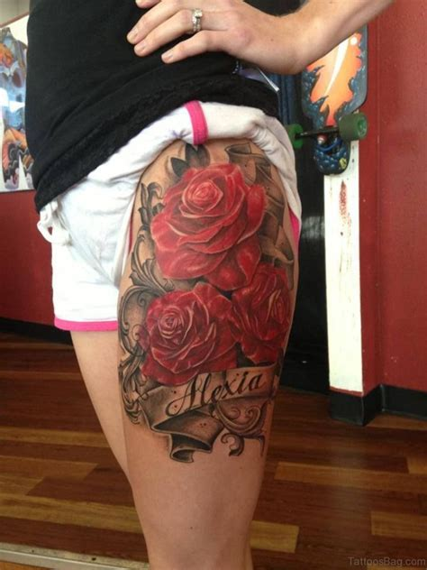 rose tattoo on thigh 74 superb tattoos on thigh