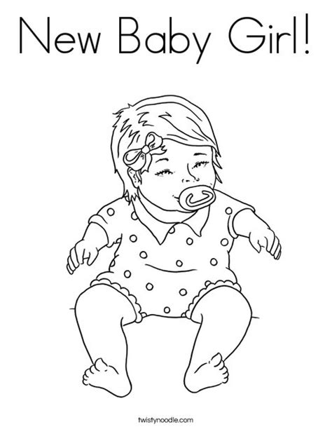 New Baby Girl Coloring Page Twisty Noodle New Baby Coloring Pages