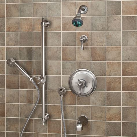 Bathroom Shower Systems Glenley Pressure Balance Shower System Dual Shower Heads And 3 Jets Lever Handle Bathroom