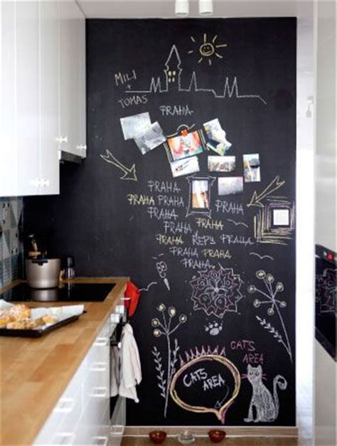 home decorating ideas kitchen a wall with chalkboard paint