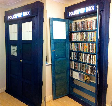 hello i m tardis dvd bookcase caution contents