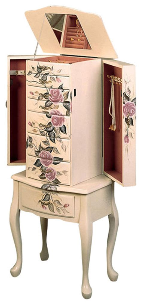 off white jewelry armoire classic romantic hand painted floral off white jewelry