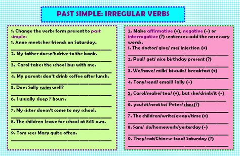 patterns of simple past tense for irregular verbs past simple irregular verbs worksheet