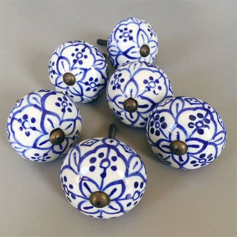 Painted Drawer Knobs by Set Of Painted Blue Flower Drawer Knobs By
