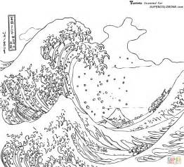 coloring page waves the great wave kanagawa by hokusai coloring page