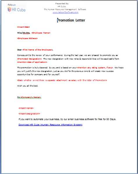 Promotion Declaration Letter Sle Promotion Offer Letter To Employee Promotion