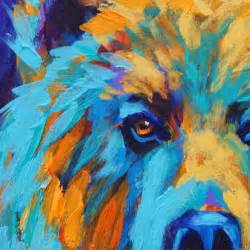 california artwork colorful animal art grizzly bear