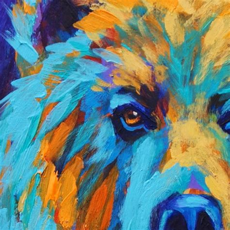 free animal painting california artwork colorful animal grizzly