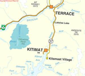 columbia maps terrace kitimat bc map driving