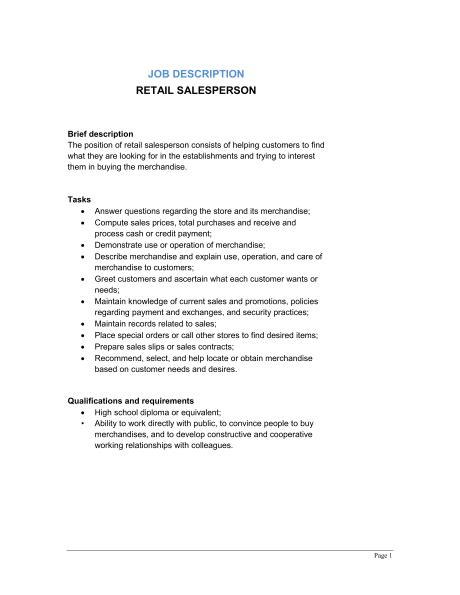 retail salesperson description template sle form biztree