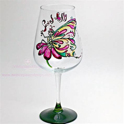 wine glass painting social butterfly hand painted wine glass a wincy glass n