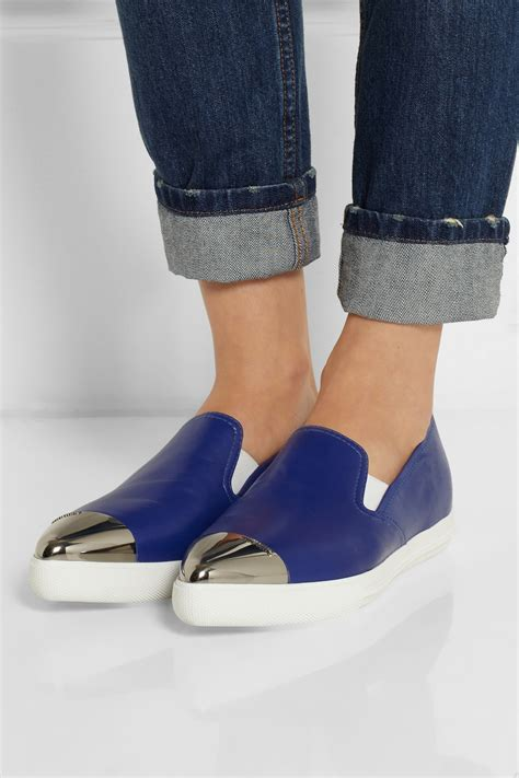 Miu Miu Doble Slipon lyst miu miu leather point toe slip on sneakers in blue