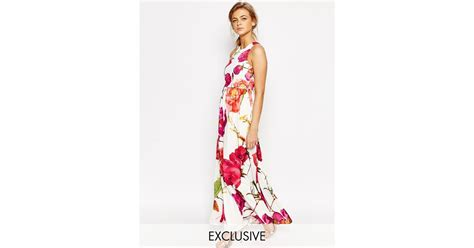 St 2in1 Jumpsuit and 2 in 1 maxi dress in oversized floral print pink multi in pink lyst