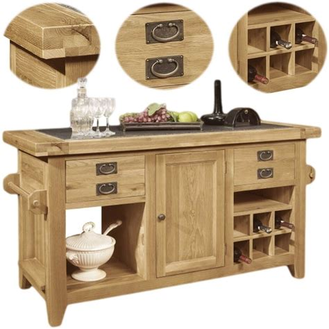 lyon solid oak furniture large granite top kitchen island unit ebay