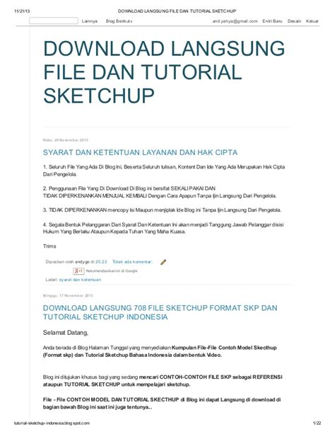 tutorial google sketchup bahasa indonesia pdf download langsung file dan tutorial sketchup di blog http