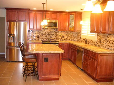 Backsplash With Maple Cabinets by Glazed Cherry Cabinets Recycled Material Countertop Tile