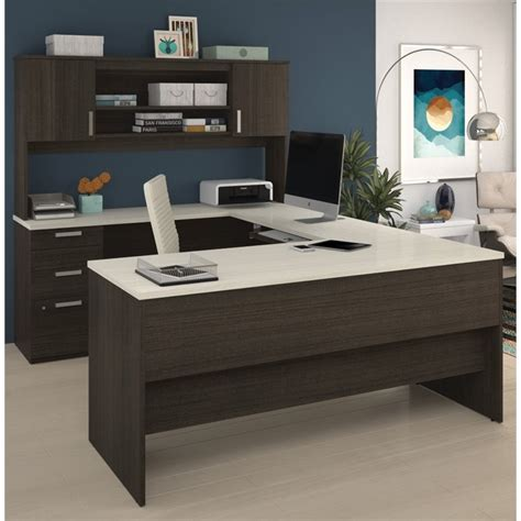 White U Shaped Desk Bestar Ridgeley U Shaped Desk In Chocolate And White Chocolate 52414 31