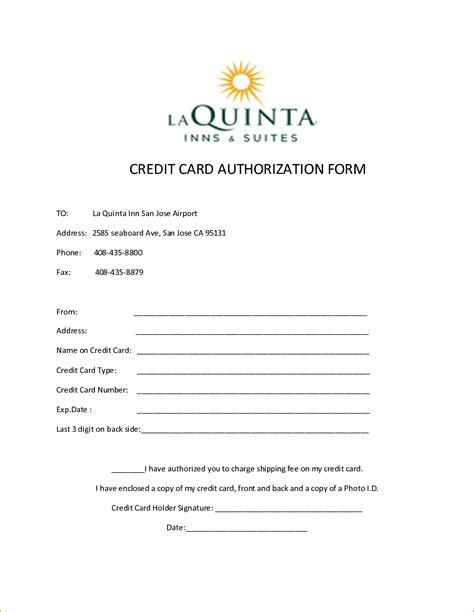 hotel credit card authorization form template 10 credit card authorization form template free