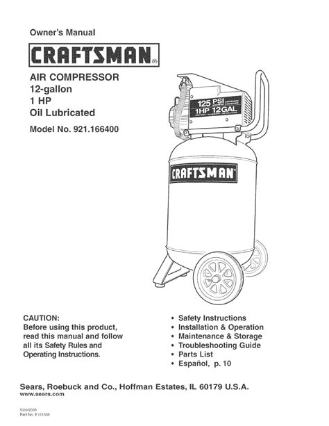 craftsman 921 166400 user manual 20 pages