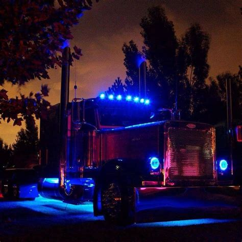 led lights for peterbilt 379 peterbilt w blue chicken lights semi trucks