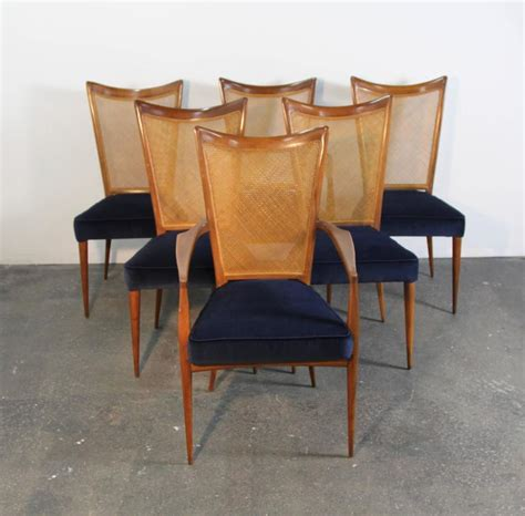Navy Upholstered Dining Chair Set Of Six Erno Fabry Dining Chairs Newly Upholstered Navy Velvet For Sale At 1stdibs