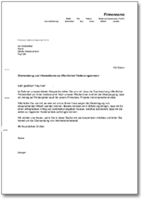 Allgemeine Anfrage Brief Musterbrief An Die Bank Informationen 252 Ber F 246 Rderprogramm De Musterbrief