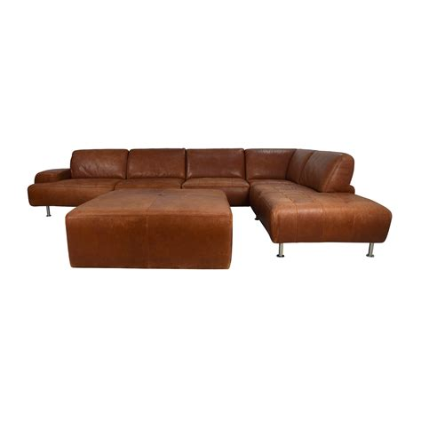 sectional sofa with ottoman brown leather sectional baxton studio brown leather