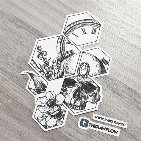 tattoo designs zip file dotwork clock flowers skull design with hexagons