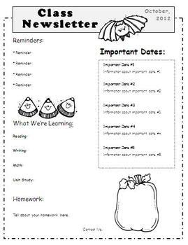 october newsletter template by elementary education