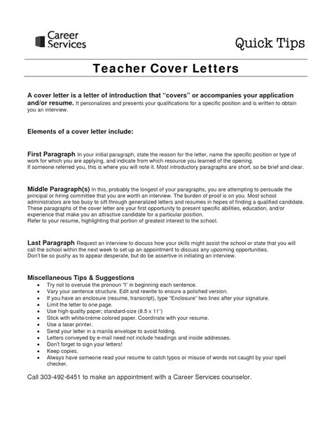 cover letter for experienced teachers cover letter project scope template