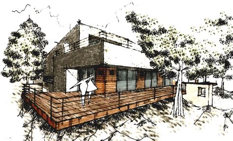 modern house drawing sketch modern house