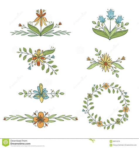 style flower hand drawn set of flower elements stock vector image