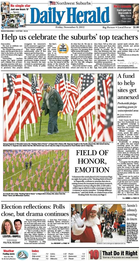 Daily Hearld Daily Herald Front Page Nov 9 2012 Front Pages