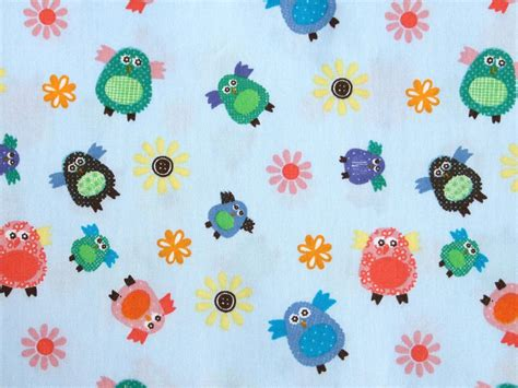 fabric crafts baby pale blue baby owl cotton fabric for patchwork