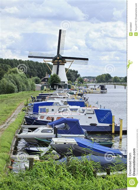 j boats holland moored yachts at kinderdijk the netherlands editorial