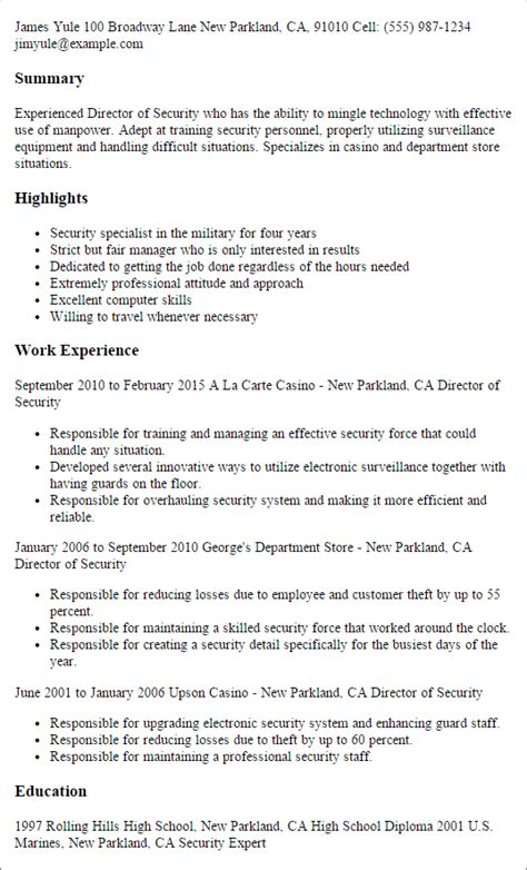 1 director of security resume templates try them now
