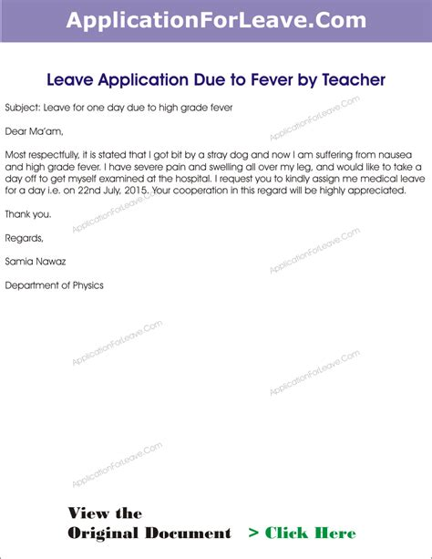 College Leave Letter For Fever Application For Sick Leave In School By