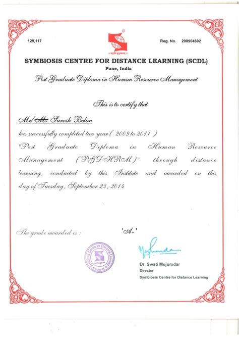 Does Symbiosis Provide Mba Degree by Scdl Pgdhrm Certificate